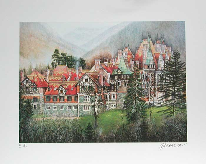Karl GOLDAMMER Villa Rothschild Lithographie in Farbe