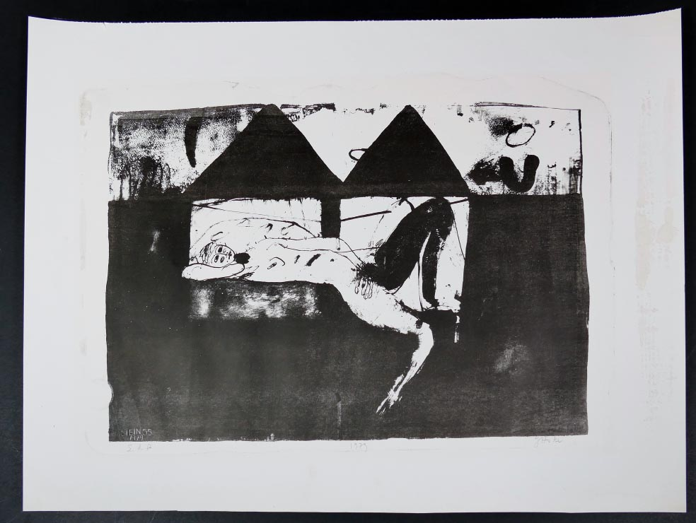 Giselbert HOKE liegende - Lithographie aus 1979