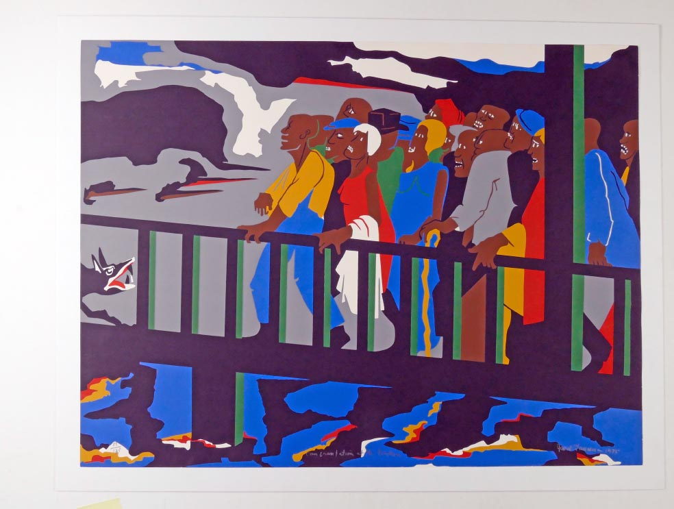 Jacob LAWRENCE Confrontation at the Bridge aus 1975 - FarbSerigraphie